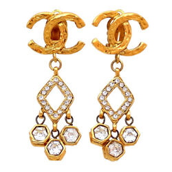Authentic Vintage Clip On Earrings Cc Logo Rhinestone Dangle Af035