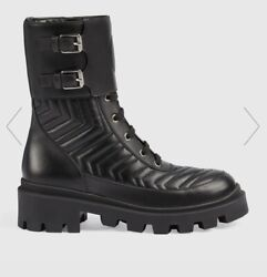 Gg Matelassandeacute Combat Boots Leather Wmnand039s Sz Italy 39.5 Us 9.5 Used Once