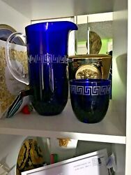 Versace Pitcher With Glasses Set Water Wine Juice Blue Decanter Rosenthal Sale