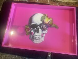 D.l.andco Skull Pink Tray Lacquer Purchased From Sls Hotel Rare
