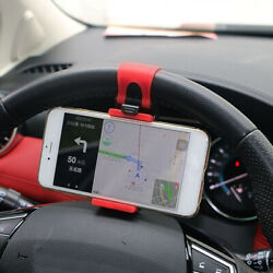 Auto Car Interior Gps Phone Holder Mount Stand Steering Wheel Clip Red Accessory