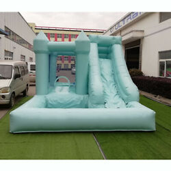 Inflatable Bounce House Wedding Bouncer Castle Green Blue With Air Blower