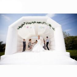Inflatable Bounce House White Wedding Bouncer Slide Jump Kids Adult W Blower