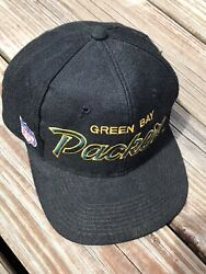 Vintage 80s Black Green Bay Packers Nfl Sports Specialties Hat Snapback Youngan