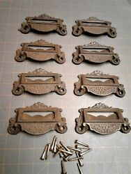 Set Of 8 Antique Victorian Cast Iron Apothecary Store Or Bin Drawer Pulls 1880s