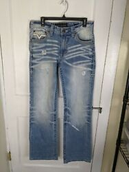 Affliction Black Premium Cooper Boot Cut Relaxed Sz 31 Distressed Flap Pockets