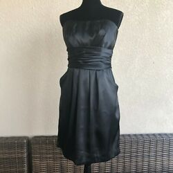 Womens David's Bridal Short Charmeuse Dress With Ruched Waist And Pocket Size 10