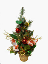 Allstate 2' Poinsettia Ball Ornament Decorated Christmas Tree Clear Lights