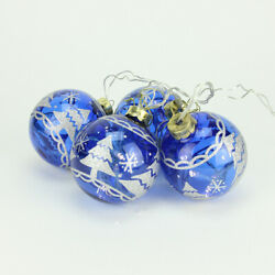 Penn 4 Battery Operated Blue Glass Ball Led Lighted Christmas Ornaments