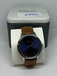 Relic By Fossil Zr77298 Men's Brown Leather Analog Dial Quartz Wriwatch Jaa19