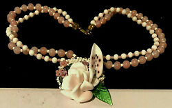 Rare Vintage Signed Miriam Haskell Pink Milk Glass Flower Statment Necklace A36