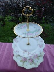 Theodore Haviland Limoge France Rosenthal China M Z Austria 3 Tier Tray Antique