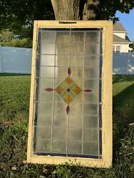 Antique Wood Framed Stain Glass Window 46x25.5andrdquo - Beautiful