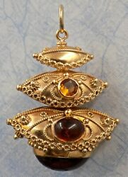 Beautiful Vintage 18k Gold Citrine And Amber Jeweled Etruscan Pendant Charm