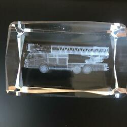Ladder Car Fire-engine 3d Crystal Paperweight Ornament Laser Engraving Used