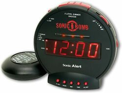 Sonic Bomb Dual Extra Loud Alarm Clock with Bed Shaker Black Sonic Alert V...