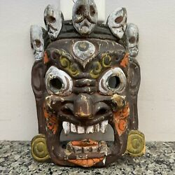 Antique Asian Hand Carved Wooden Wood Tibetan Tantric Dancing Mask Nepalese 8andrdquo