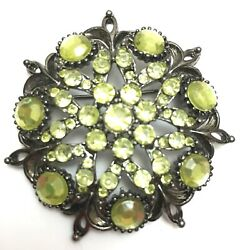 Vintage Rare Yellow-green Crystal Brooch Costume Pin Jewelry W Gift Box