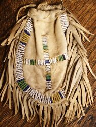 Antique 1890s Sioux Indian Beaded Sinew Sewn Fringed Pouch Bag W/drawstring