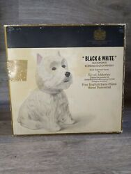 Vintage Black And White Scotch Whiskey Westie Dog Decanter With Box Adderley
