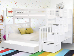 Bedz King Stairway Bunk Beds Twin Over Full With 4 Drawers In The Steps And A Fu