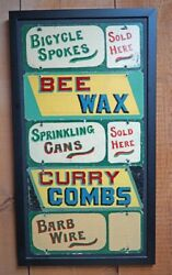 Antique Country Hardware Store Advertising Tin Signs Horse Bicycle Bees 1930and039s