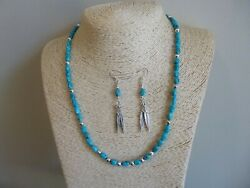 Native American Necklace Natural Kingman Arizona Turquoise And Sterling Necklace
