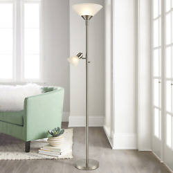 Home Torchiere Floor Lamp Standing With Reading Light Frosted Glass Shades 72