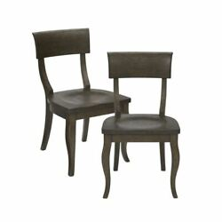 Luxury Set Of 2 Charcoal Slate Chairs Cabriolet Solid Wood Frame