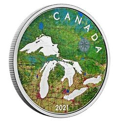 5 Oz. Pure Silver Coin - Great Lakes - Mintage 2,000 2021 - Canada Pre Order