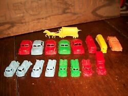 Vintage Lot Of 15 Little Plastic Red Toy Cars, Trucks And A Covered Wagon