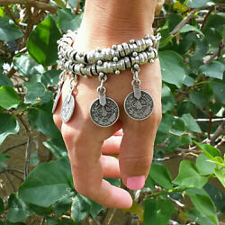 Antique Turkish Boho Coin Jewelry Tribal Ethnic Statement Bracelet Anklets Chain