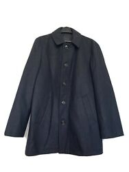 Menand039s Large 42-44 Wool Blend Overcoat Winter Jacket Parka Charcoal