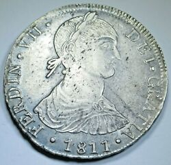 1811 Spanish Peru Silver 8 Reales Antique Imaginary Bust Colonial Dollar Coin