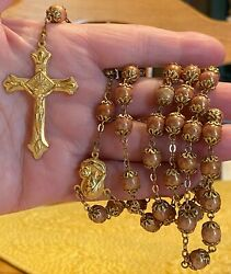 Antique Vintage Stunning Peach Shiny Beads Rosary Prayer Cross Made In Italy