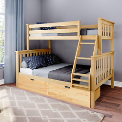 Max And Lily Bunk Bed Storage Drawers Twin/full Natural