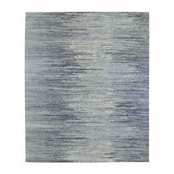 8and039x10and0393 Wool Horizontal Ombre Design Oceanic Zero Pile Hand Knotted Rug G66854