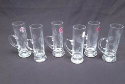 Set Of 6 Petite Floral Etched Crystal Mug Shot Glass Made In Romania Vintage