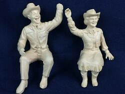 Roy Rogers And Dale Evans Rubber Figures For Ideal1950's Stagecoach Or Chuck Wagon