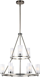 Feiss F2987/9sn/ch Jonah Glass Chandelier Lighting With Shades, Satin Nickel, 9-