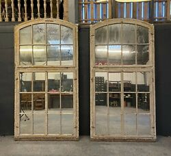 Stunning Huge Pair Of Antique French Wooden Window Mirrors