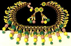 Miriam Haskell Necklace Earring Set Rare Vintage Signed Gilt Glass Drippy Dangle
