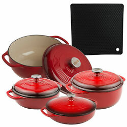 Lodge 4-piece Enameled Cast Iron Dutch Oven, Covered Casserole Dish Cookware Set