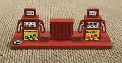 Vintage Strip Of Gas Pumps Set Of 2 Toy Service Station Small Mini Plastic