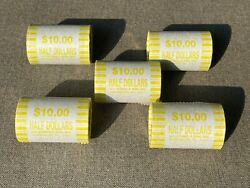 5 Rolls Of Half Dollars - Unsearched - Fed Sealed- Possible 40 90 Silver Coins