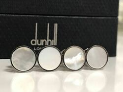 Used Dunhill Shell X Silver 925 Stud Button Minimal Cufflinks