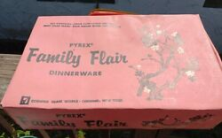 Vintage Pyrex Pink Petal Family Flair Bowls Plates Cups New In Box Set Of Four
