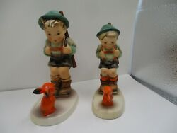 Hummel Goebel Sensitive Hunter Lot Of 2 Tmk 5 And 2  Hand Painted Made In Germany