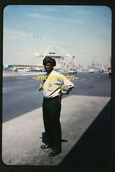 Man Working Next To Lax Los Angeles Airport In 1962, Original Slide H13a