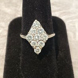 14k White Gold 1.40-1.50ct Diamond Cluster Marquise Ring Size 8.5